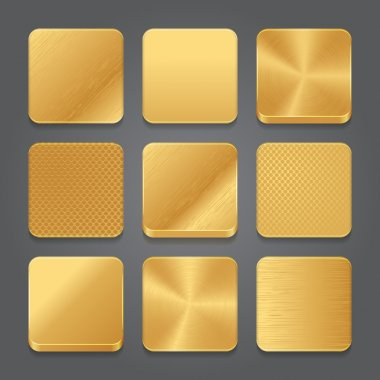 App icons background set. Golden metal button icons