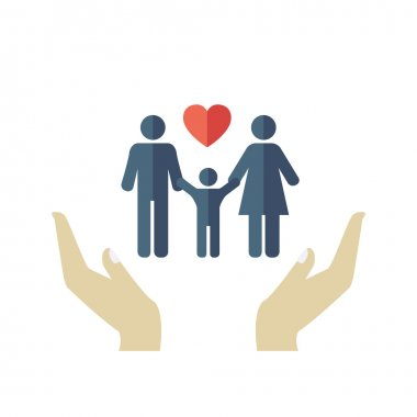 Family Design Icon in flat style. Vector