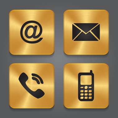 Gold Metal contact buttons - set icons - email, envelope, phone,
