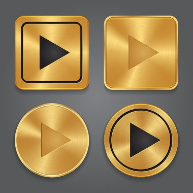Gold metallic Play button, set app icons