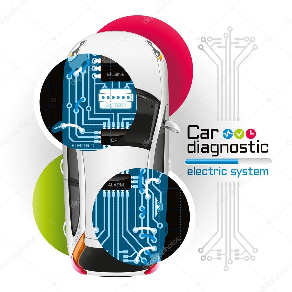 Röntgen Sie-Auto Diagnose des elektrischen Systems — Stockvektor ...