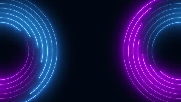 Neon fények kék és lila zökkenőmentes hurok háttér mozgás grafika animáció.