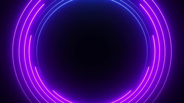 Modré a fialové neonové kruhy abstraktní futuristické hi-tech pohybové pozadí. Video animace Ultra HD 4K 3840x2160