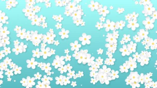 Rostoucí květinové pozadí, papírové květy objevují, botanický vzor, svatební kolo kytice, papírové řemeslo, 4k animace