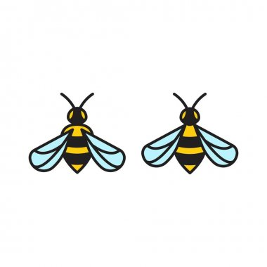 Honey bee filled. Vector logo icon template
