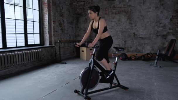 Focused young Indian woman cycling in gym. Side view of slim brunette sportswoman training on exercise bike in sports club. Lifestyle, health, sport.