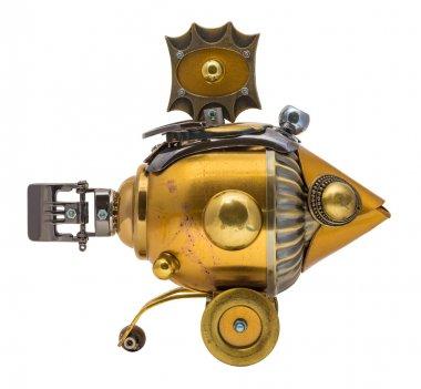 Retro steampunk fish. Bronze and chrome parts.