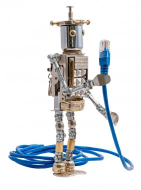Steampunk robot holding lan cable