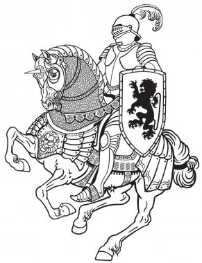 medieval knight on horse black white