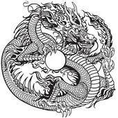 Fotografia Della holding della perla del drago nero bianco