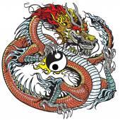Fotografia Drago che tiene simbolo yin yang