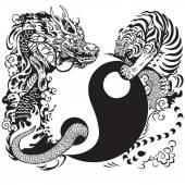 Fotografia Simbolo di Yin yang con drago e la tigre