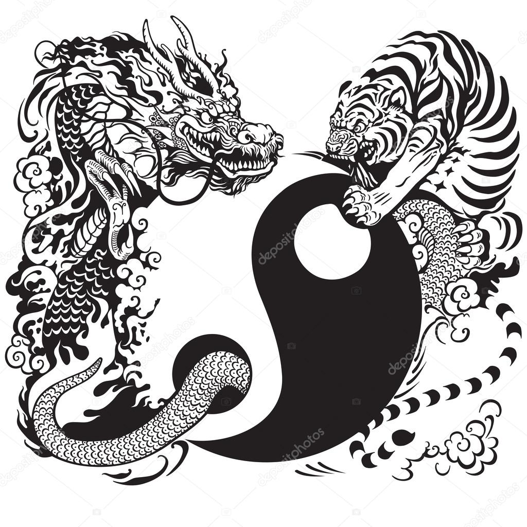 Taoism Symbols Dragon: Symbole Du Yin Yang Avec Un Tigre Et Dragon