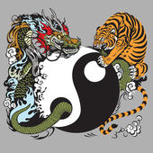 Fotografie Yin yang symbol with dragon and tiger fighting