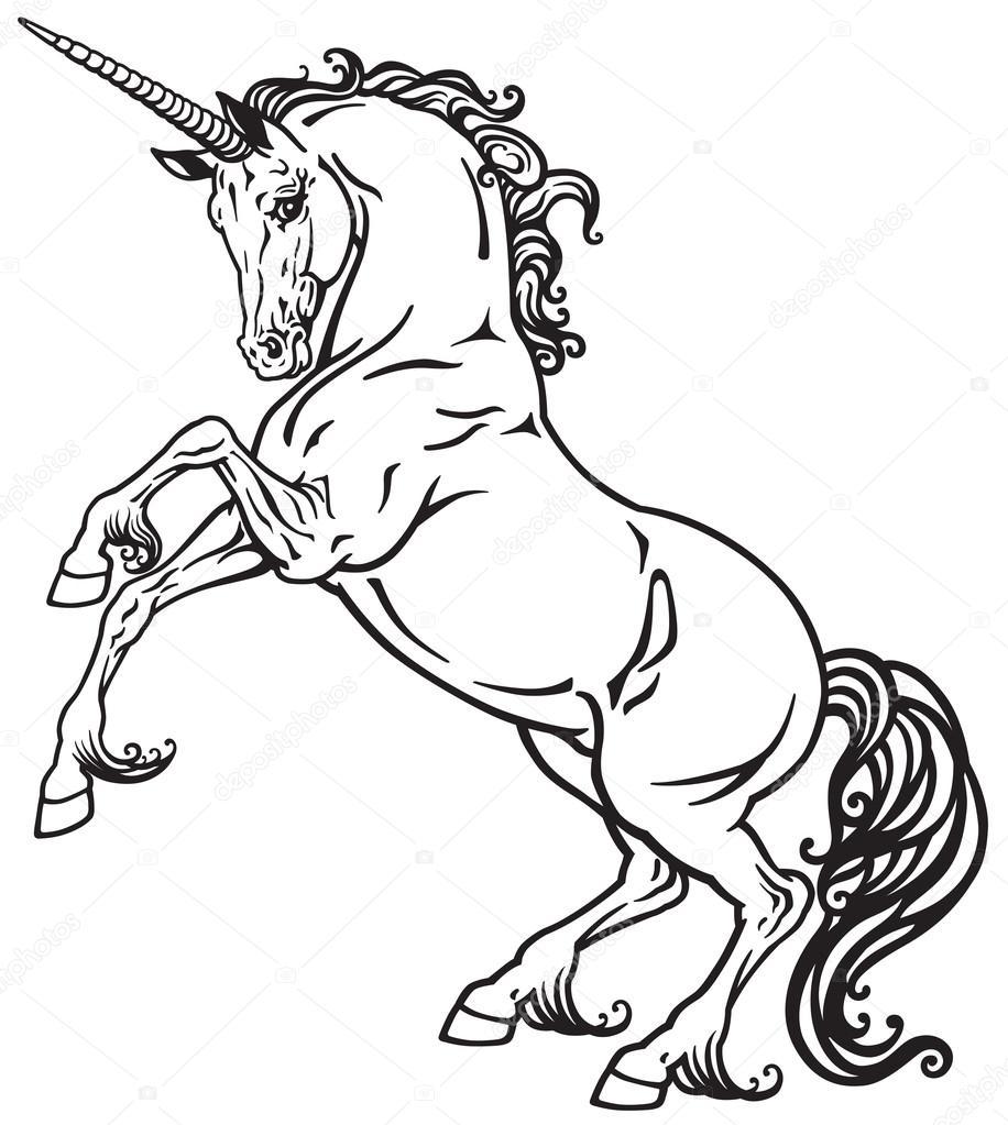 unicornio blanco y negro — Archivo Imágenes Vectoriales © insima ...