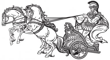 roman war chariot black and white