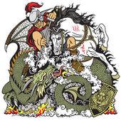 Photo knight fighting a dragon