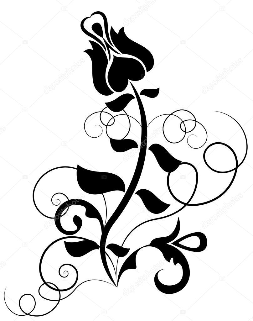 Rosas A Blanco Y Negro Forma Vectorial Rosa Blanco Y Negro