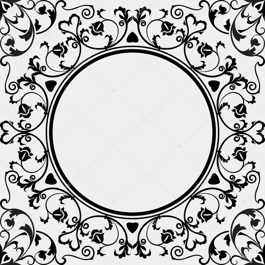 Plantilla de vector de marco simple de blanco y negro vintage ...