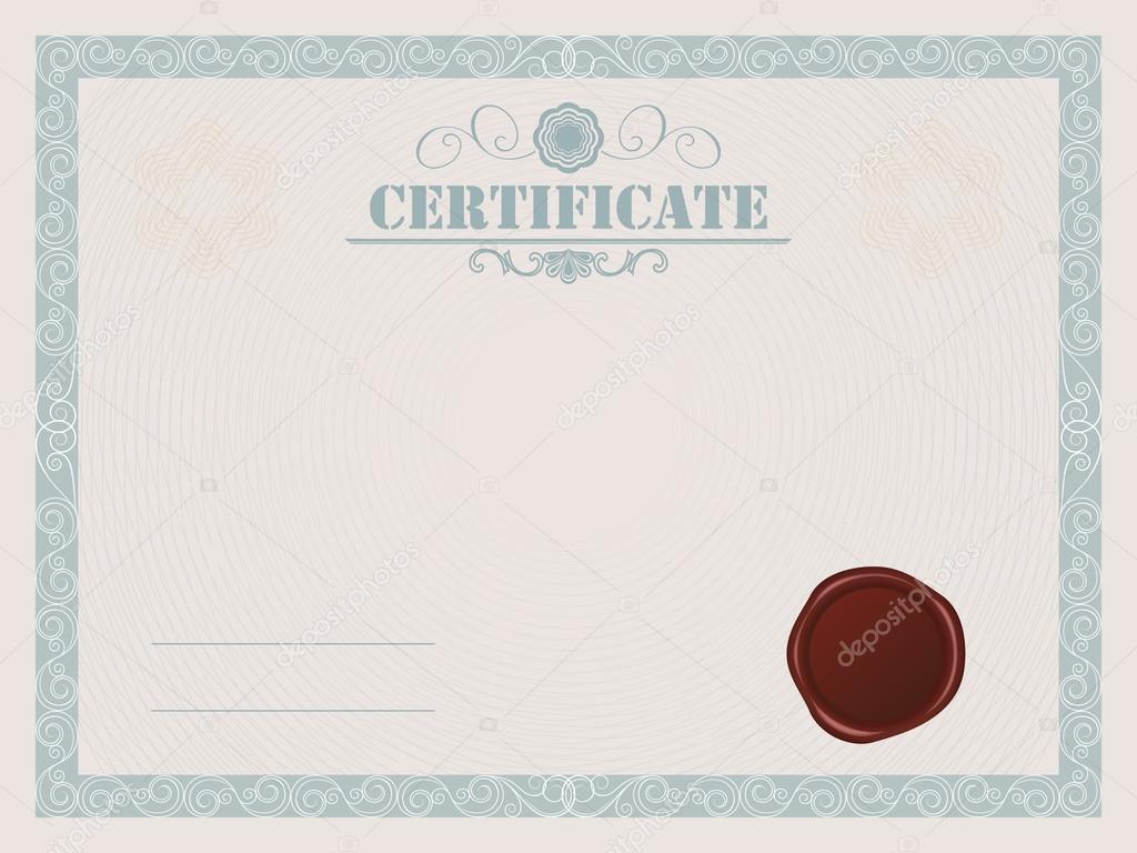 Leere Vektor Zertifikatvorlage mit Siegel — Stockvektor © lenapix ...