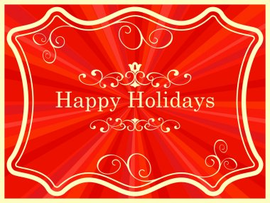 Happy holidays vintage card with ornate frame vector template. clip art vector