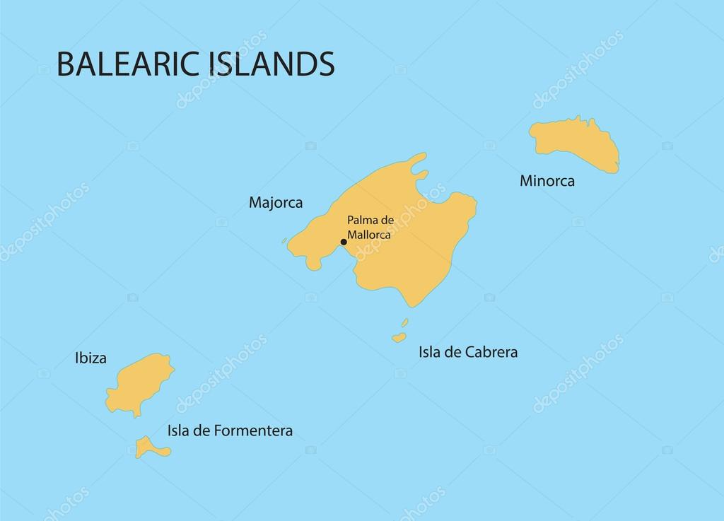 Balearic Islands map with indication of Palma de Mallorca Stock