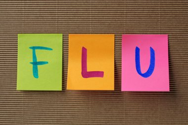 flu text on colorful sticky notes