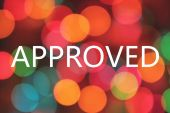 Photo approved word on colorful blurred bokeh background