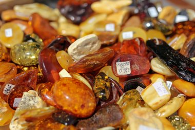 closeup of amber stones in a shop in the old city of Gdansk, Poland