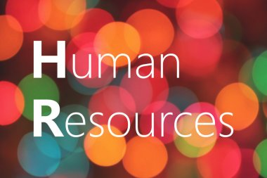 Human Resources text on colorful bokeh background