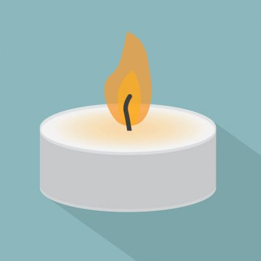 Burning tealight candle- vector illustration icon