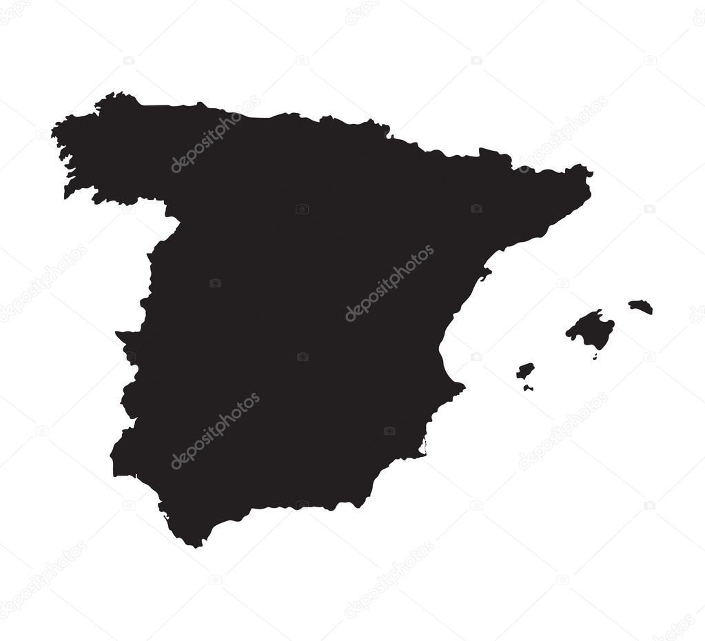 carte espagne noir