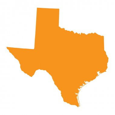 Orange map of Texas