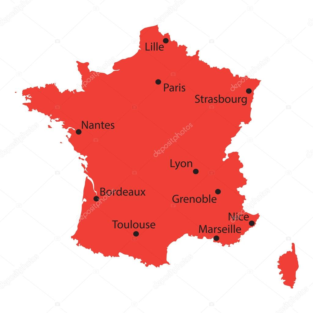 Map Of France Major Cities.Red Map Of France With Indication Of The Biggest Cities Stock