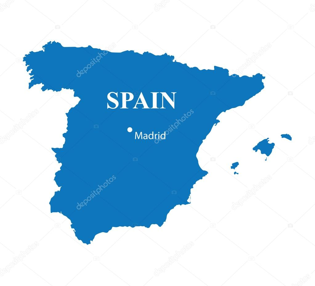 madrid karta Blue map of Spain with indication of Madrid — Stock Vector  madrid karta
