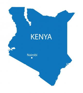 Blue map of Kenya