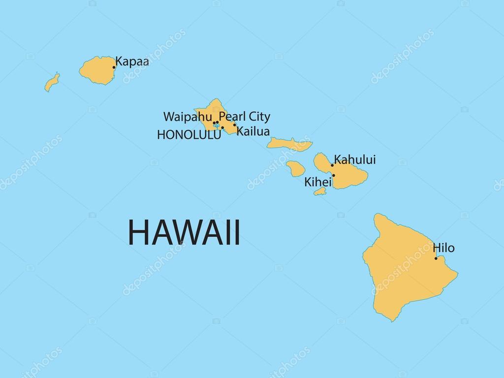 hawaii térkép Hawaii Térkép — Stock Vektor © chrupka #65401799 hawaii térkép