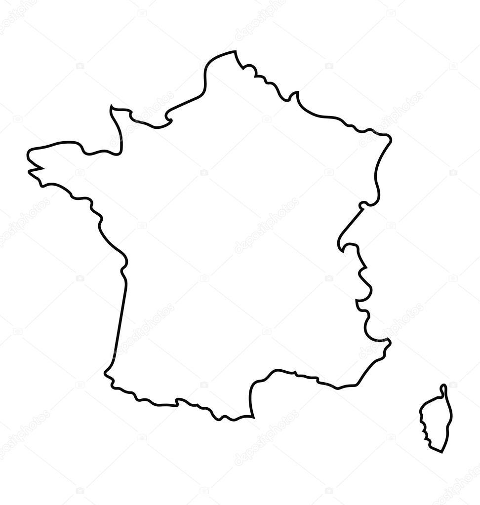 carte de france noir et blanc