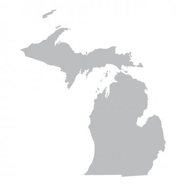 Grey map of Michigan