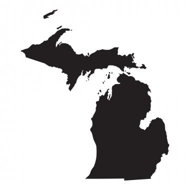 Black map of Michigan