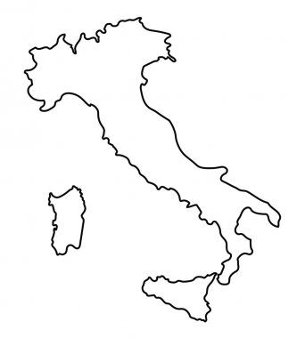 Black abstract outline of Italy map