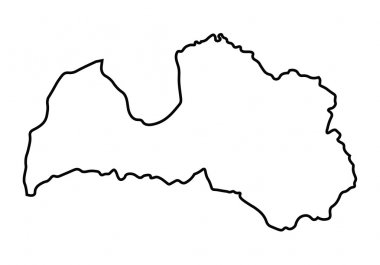 Black abstract map of Latvia