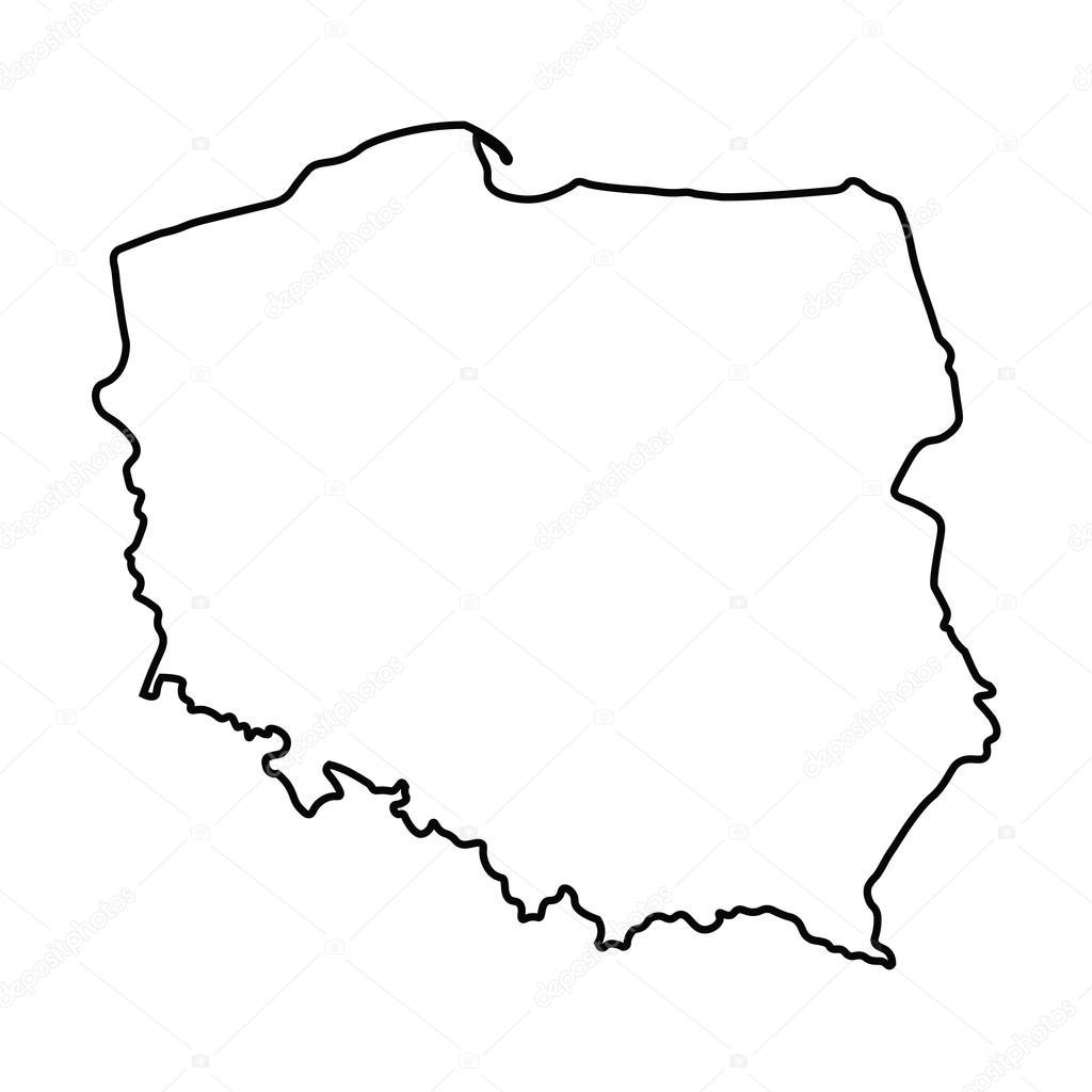 Polen Karte Umriss.Schwarzer Abstrakten Umriss Polen Karte Stockvektor