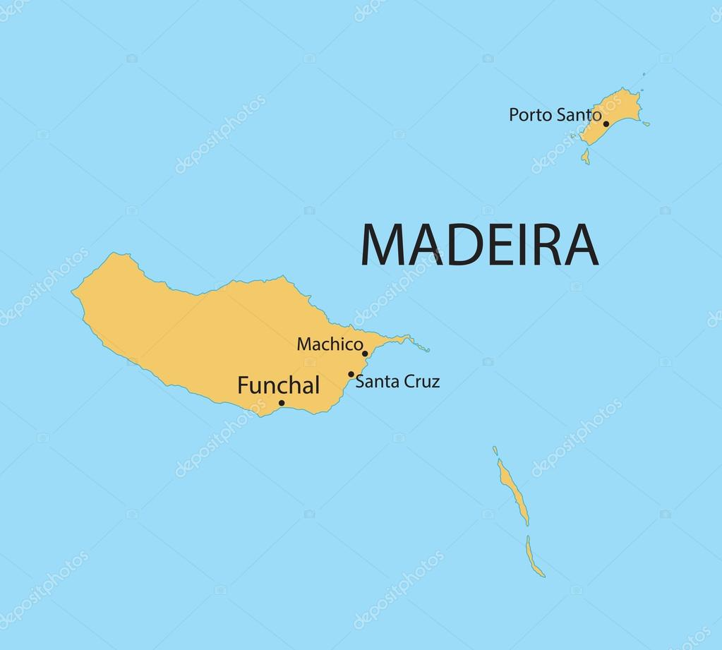 arquipélago da madeira mapa Mapa amarelo do arquipélago da Madeira, indicação das cidades  arquipélago da madeira mapa