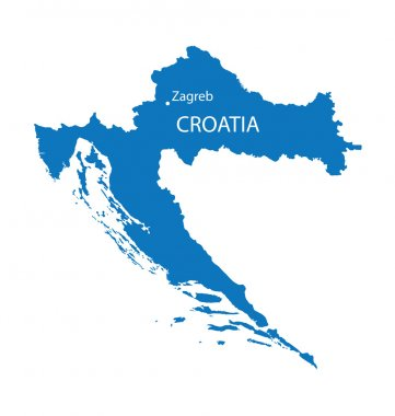 Blue map of Croatia with indication of Zagreb