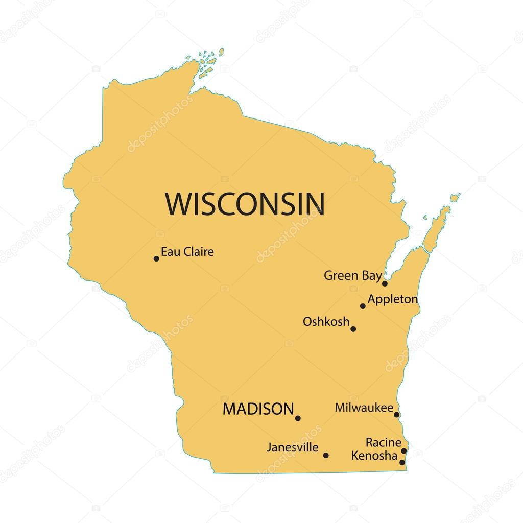 yellow map of wisconsin with indication of largest cities stock