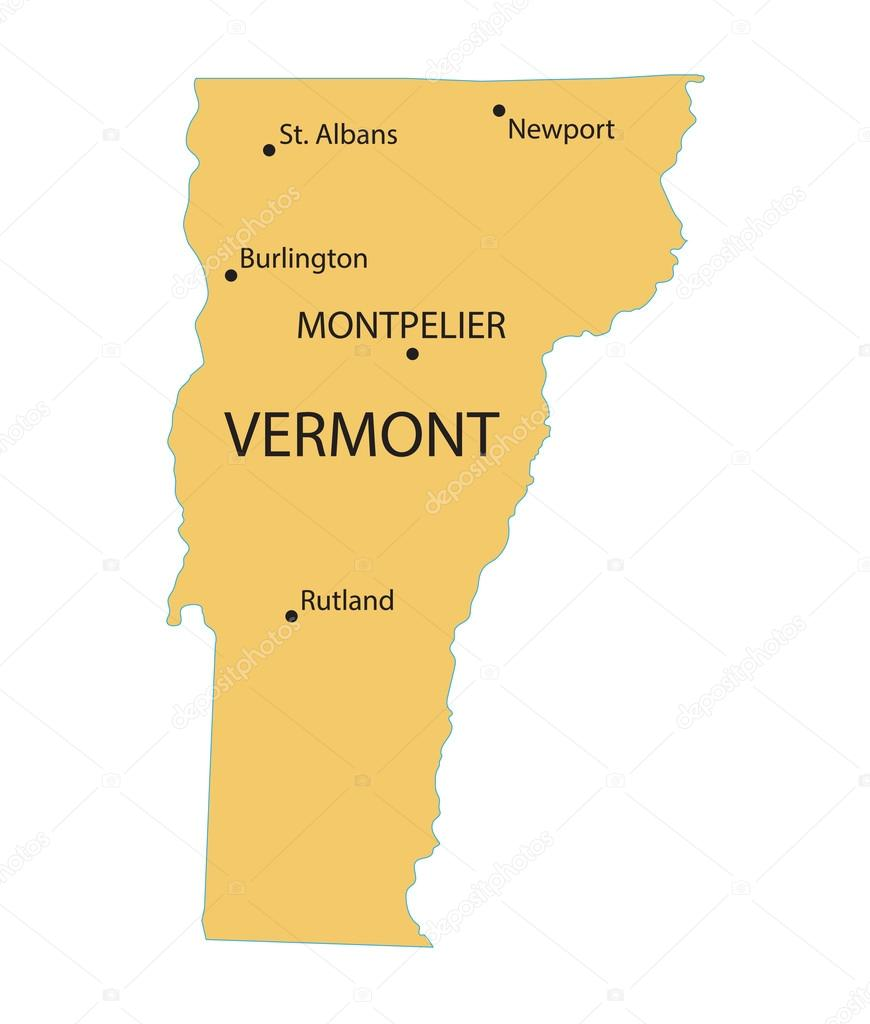 Yellow map of Vermont with indication of largest cities ...