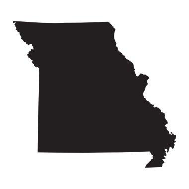 Black map of Missouri map