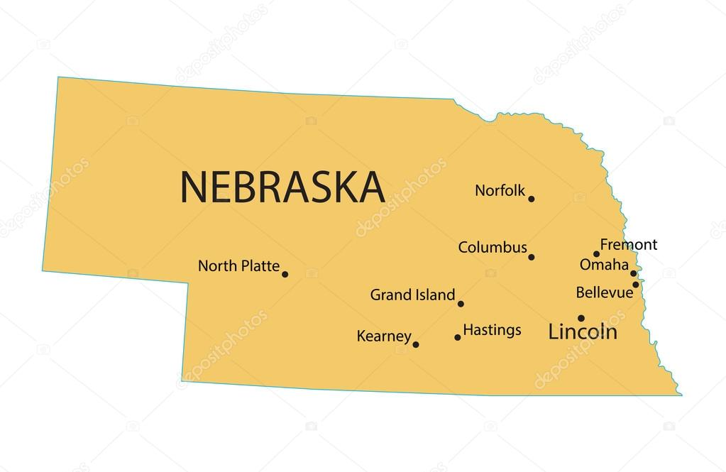 Yellow Map Of Nebraska With Indication Of Largest Cities Stock