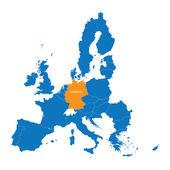 modrá mapa Evropské unie s uvedením Německo